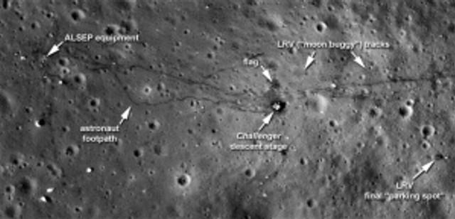 tracks on the moon
