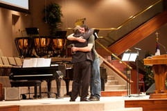 Reunting with Pastor Benson in 2014 and sharing my testimony at his church (2014)
