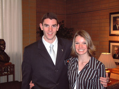 Saying goodbye to my younger sister, Katie, at the MTC (February 11, 2004)