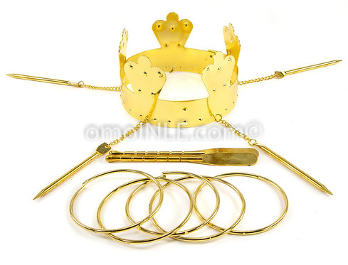 HERRAMIENTAS DE OSHUN CORONA CROWN OCHUN TOOL SET WITH BANGLES AND OARS