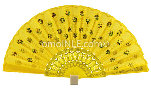 Abanico Amarillo Para Oshun Muy Buena Calidad, Abanicos. Yellow Ochun Hand Fans