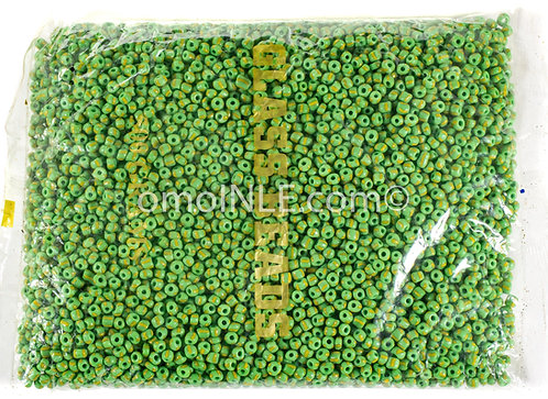 GLASS BEADS SEED BEADS CUENTAS MOSTACILLAS DE CRISTAL COLOR GREEN GOLD STRIPES