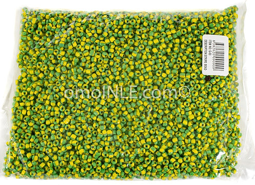 GLASS BEADS SEED BEADS CUENTAS MOSTACILLAS DE CRISTAL COLOR GREEN YELLOW STRIPES