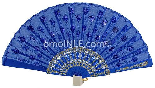 Abanico Azul Para Yemaya Muy Buena Calidad, Abanicos. Blue Hand Fan for Jemanja