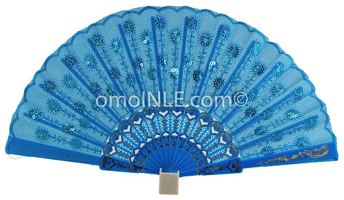 Abanico Azul Claro Para Yemaya Muy Buena Calidad, Abanicos. Light Blue Hand Fans