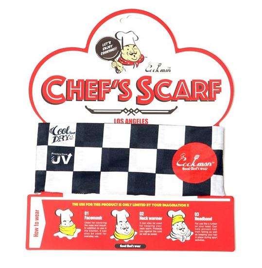 Cookman™️ Chef's Scarf #Checker Black