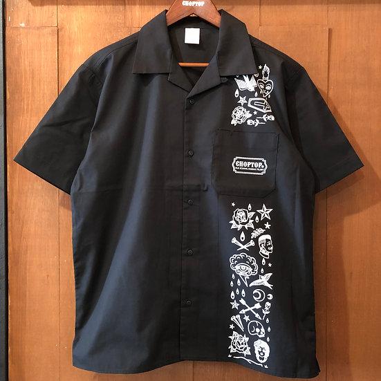 OLD SCHOOL design Open collar shirts #Black