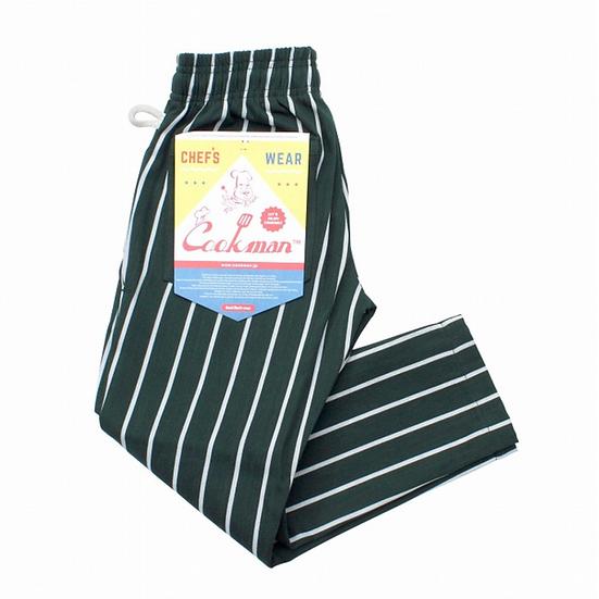 Cookman™️ Chef Pants Kids Size #Stripe Dark Green