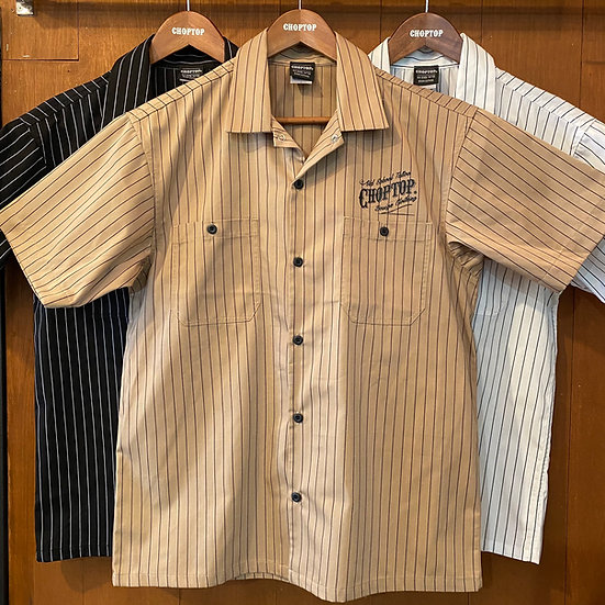 Skull paisley Stripe work shirts #Black or White or Ocher
