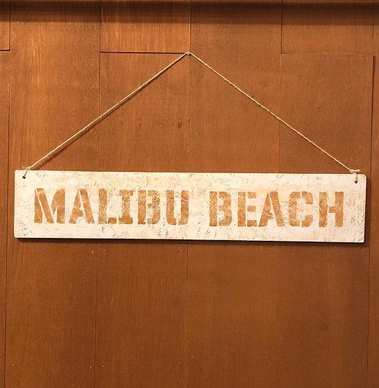 Wood sign #MALIBU BEACH Mist gray