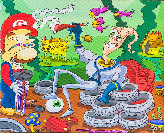 DUNKEES #Herb worm Bill Canvas Print