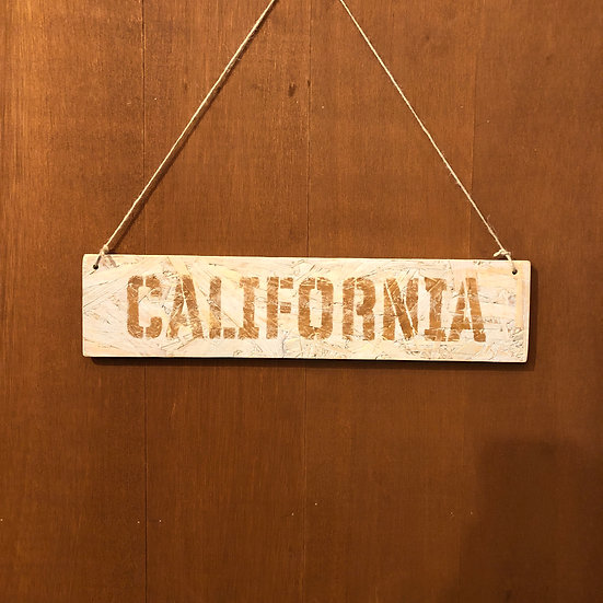 Wood sign #CALIFORNIA Mist gray