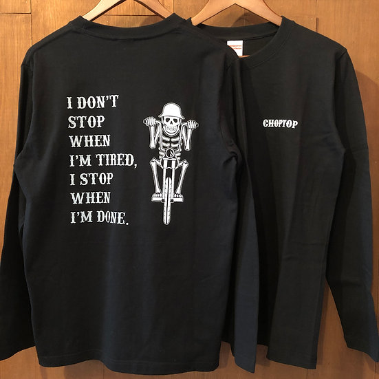 Skeleton biker L/S tee #Black