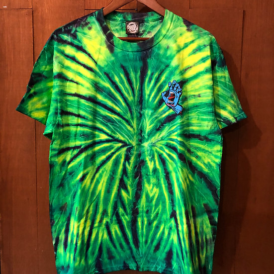 SANTA CRUZ #Tie Dye SCREAMING HAND S/S tee Green