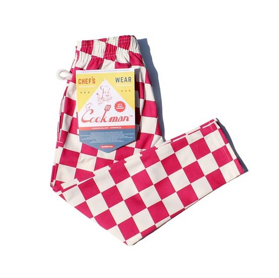 Cookman™️ Chef Pants Kids Size #Checker Pink