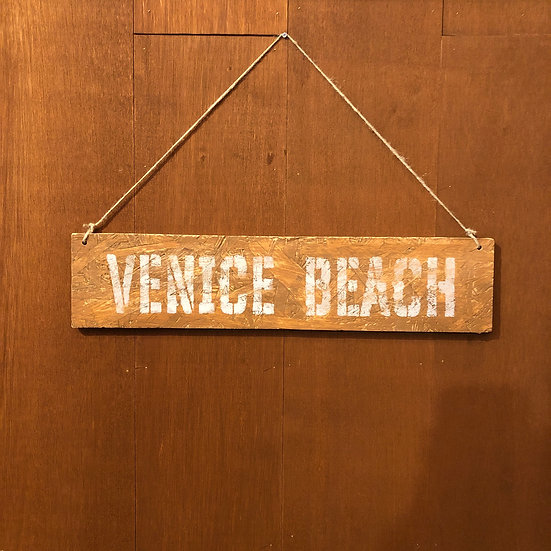 Wood sign #VENICE BEACH Brown