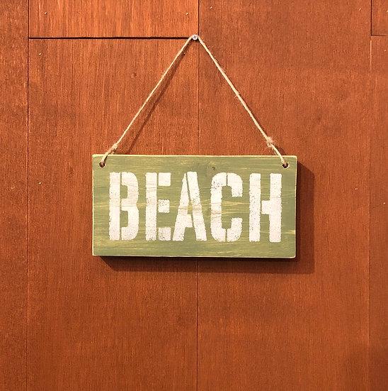 Wood sign #BEACH Almond green