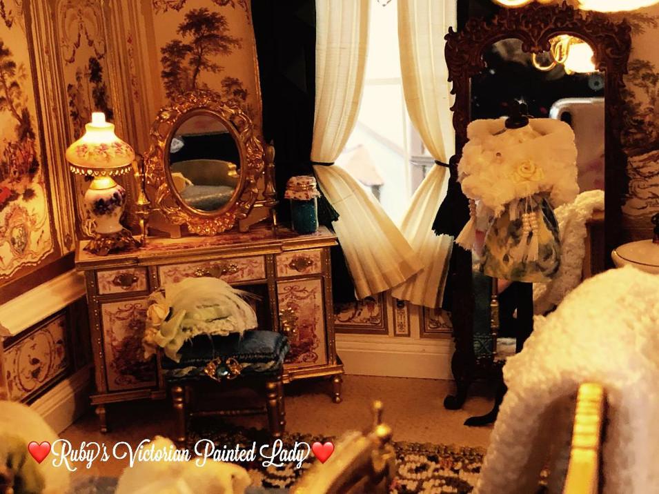 Gold Master Vanity & Fur Stole on Mannequin