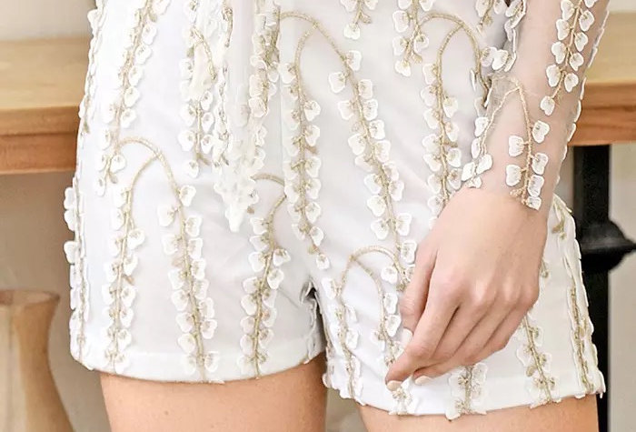 Cherry Blossom Embroidered Shorts