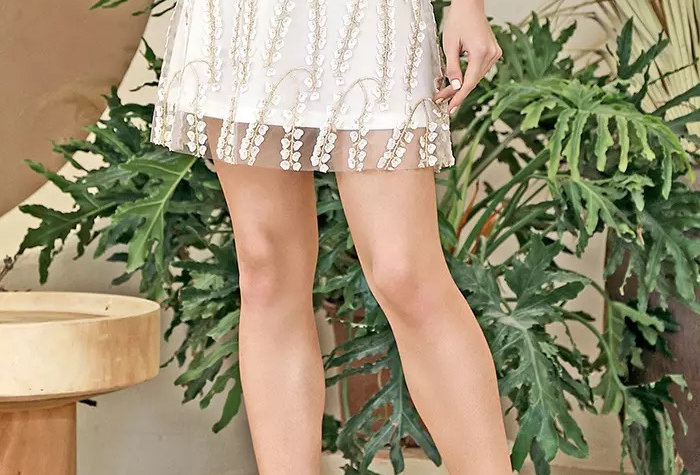 Cherry Blossom Embroidered Skirt
