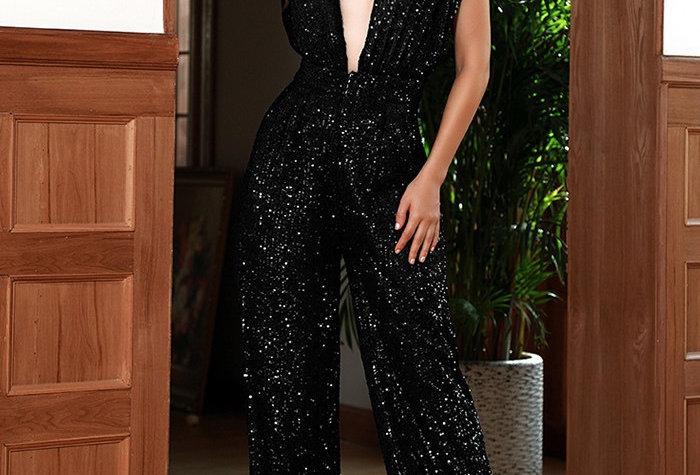 Onyx Sequin Jumpsuit