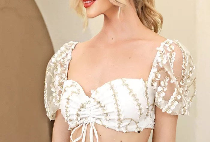 Cherry Blossom Embroidered Bardot Top