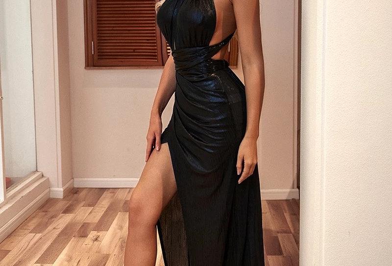 Lenia Wet-look Gown