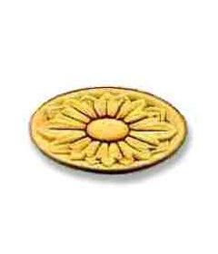 "Oblong Flower Medallion Birch Applique 2-3/8"""