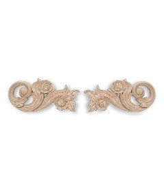 """Pair Carved Wood Applique  - 7"""""""