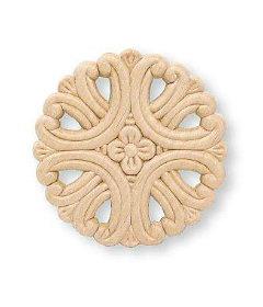 "Medallion Small Birch Wood Applique - 3-3/4"""