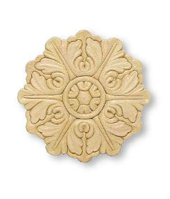 Round Medallion Birch Wood Applique - 5""