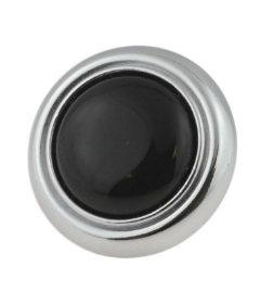 "Black Ceramic Center Chrome Drawer Knob 1-1/4"""