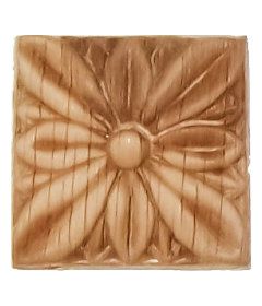 "Veneered Oak Flower Square Applique - 1-1/4"" x 1-1/4"""