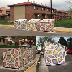 Prism Dumpsters, Latex and Spray Paint on Metal Dumpsters, 2016, Sun Valley Housing Projects, Imagin