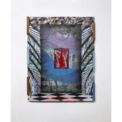 Zach Searcy. At Window. 16 in x 20 in. Mixed media on linen. 2021. 950