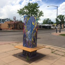 Tree Tower, Latex and Spray Paint on Steel, 2015, 25th Avenue and Federal Boulevard, Federal Busines