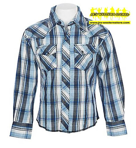Wrangler Boys Black/Blue Plaid L/S Snap Shirt