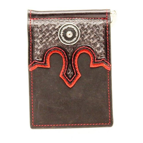 Nocona Western Mens Wallet Basketweave Bi-Fold Money Clip Black