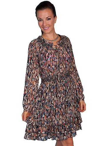 Scully Lightweight feather print dress