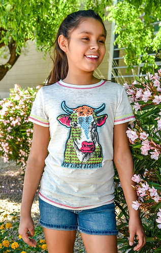 COWGIRL HARDWARE YOUTH COW ACID WASH TEE