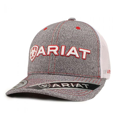 Ariat Mens Red/White Embordered Logo Grey Cap - A300000806