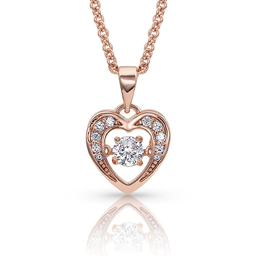 Let's Dance A Little Dance Rose Gold Heart Necklace