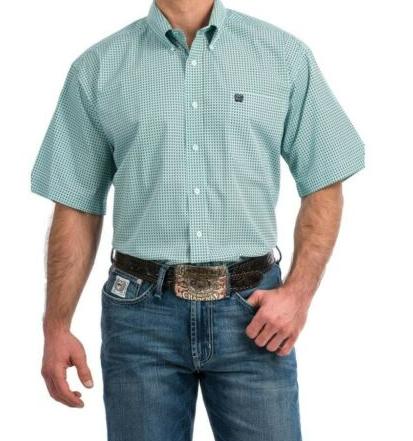Cinch Western Shirt Mens S/S Print Button Cotton Light Blue MTW1111292