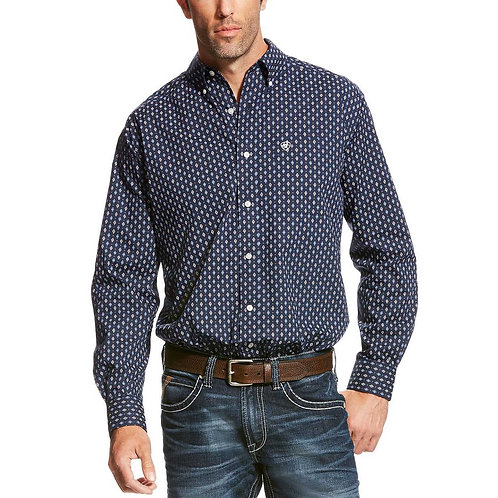 Ariat Mens Padaman Print Button Down Shirt Navy