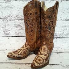 Corral Ladies Brown and Tan Python Inlay Boots