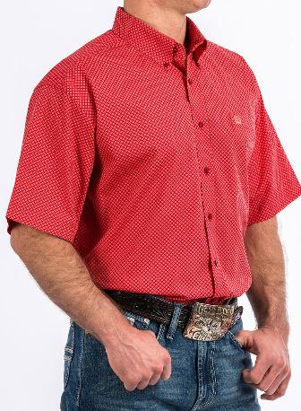 Cinch Men's Red Diamond Geo Print Short Sleeve Western Shirt