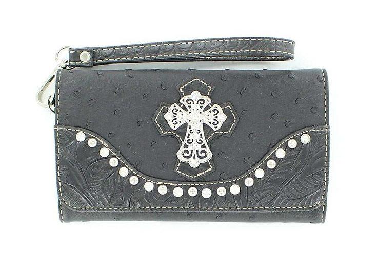 Blazin Roxx Black Ostrich Print w/ Zebra Cross & Crystals Wallet N7527001