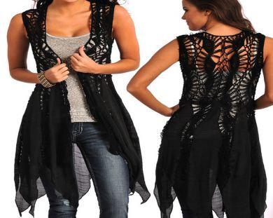 ROCK & ROLL COWGIRL CROCHETE VEST DRESS 4521