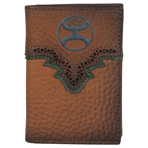 HOOEY TRIFOLD WALLET RUSSET & GREEN