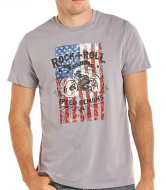 PANHANDLE SLIM/ROCK & ROLL COWBOY AMERICAN FLAG & MOTORCYCLE TEE P95287